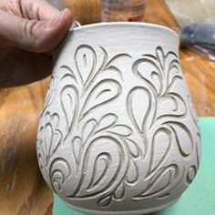 Carving happening this week not much of it but with a few minutes here and there i'm squeezing a little into my schedule pottery carvingpottery handcarvedpottery paisley Hand Built Pottery, Slab Pottery, Pottery Mugs, Pottery Bowls, Ceramic Pottery, Pottery Art, Sgraffito, Pottery Handbuilding, Pottery Techniques
