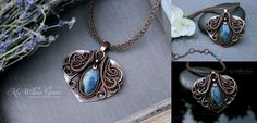Wire Wrapped Viking Knit and Labradorite Heart Necklace by Angela Barbara from www.MyWillowGems.etsy.com www.facebook.com/MyWillowGems