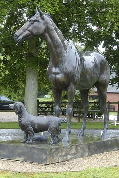 Lord Gyllene and other animals - sculpture by Carolyn Wallace, outside the John MacDougall Visitors Centre in Kentford, SuffolkEngland;  the horse, Lord Gyllene, was the winner of the 1997 Grand National;  photo by mira66, via Flickr