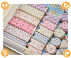 Memi The Rainbow: Hand carved rubber stamps inspired to washi tapes---need to make one with dots like the red one in the center for my mail art!