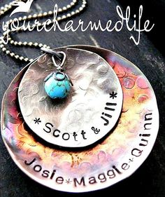 Hand Stamped Necklace  Sterling Silver and by yourcharmedlife, $55.00