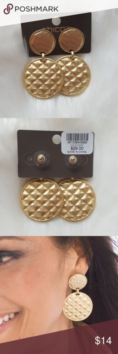 NEW Chicos Fleur Double Drop Earrings Chico's Fleur Double Drop Earrings    BRAND NEW WITH TAGS  MSRP $29   These two-tier medallion earrings are classically indulgent in a textural gold-tone metal perfected by a quilted design. Post. Metal. Imported. Chico's Jewelry Earrings
