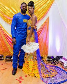 👑 Bride and her beau Makeup by Dress by Photography by Fan by Decor by African Wedding Attire, African Attire, African Dress, Ghana Wedding Dress, African Weddings, African Inspired Fashion, African Print Fashion, African Fashion Dresses, Ghana Traditional Wedding