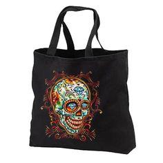 Diamond Sugar Skull New Black Tote Bag Unique. por SabellasEmporium, $17.99