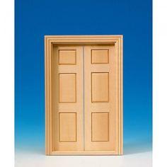 Zweiflügelige Salontür (60120). aus Naturholz, mit 6 Paneelen, komplett mit Innenverkleidung. Abmessungen: 122 x 186 mm (BxH). Ausschnittmaße: 112 x 183 mm.