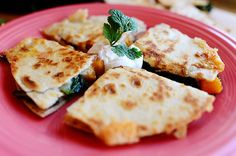butternut squash and kale quesadillas..includes a great tutorial on prepping butternut. via pioneer woman