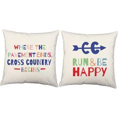 Set of 2 Run and Be Happy Pillows  Cross Country by RoomCraft
