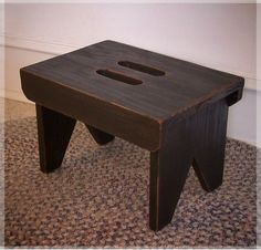 Farmhouse Primitive Step Stool / Cut Out Handles / Shaker Style / Color Choice