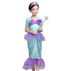 27.98$  Watch now - https://alitems.com/g/1e8d114494b01f4c715516525dc3e8/?i=5&ulp=https%3A%2F%2Fwww.aliexpress.com%2Fitem%2FKids-Costumes-Girls-Cospaly-Dresses-the-little-mermaid-Ariel-Princess-Costume-fantasia-infantil-halloween-christmas-girl%2F32666478322.html - Kids Costumes Girls Cospaly Dresses the little mermaid Ariel Princess Costume,fantasia infantil,halloween,christmas girl dress 27.98$
