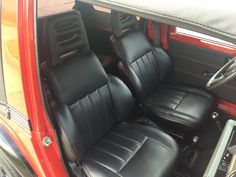 Suzuki Samurai -- Italian leather interior with Mercedes Mars red stitching.