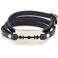 McQ Alexander McQueen Razor Blade Leather Bracelet (110 CAD) ❤ liked on Polyvore featuring jewelry, bracelets, black, leather jewelry, black leather bracelet, mcq by alexander mcqueen, black bangles and leather bracelet
