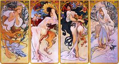Cropped print of four panels each depicting one of the four seasons personified by a woman  Artist: Alphonse Mucha  Style: Art Nouveau (Modern)