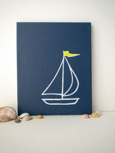 Navy Sailboat Painting on Canvas with Lime Green by WhitSpeaks. $26.00, via Etsy.