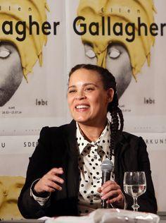 Ellen Gallagher, exhibition opening and artist talk, with Ellen Gallagher and curator Ulrich Wilmes, Haus der Kunst, 27.02.14, photo Marion Vogel