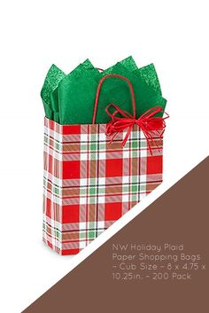 NW Holiday Plaid Paper Shopping Bags – Cub Size – 8 x 4.75 x 10.25in. – 200 Pack Cubs, Paper Shopping Bag, Plaid, Packing, Holiday, Gingham, Bag Packaging, Puppies, Scotch