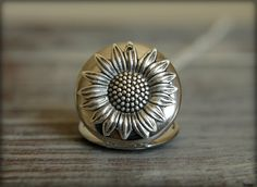 Sunflower Locket Necklace in Silver large by saffronandsaege
