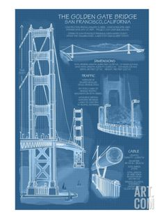 San Francisco, CA, Golden Gate Bridge Technical Blueprint Print at Art.com