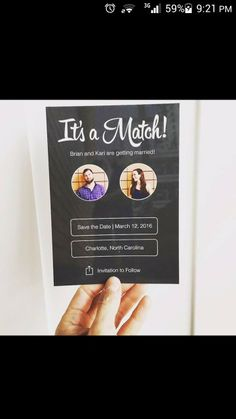 Tinder Wedding Save the Date Funny Save The Dates, Wedding Save The Dates, Our Wedding, Perfect Wedding, Dream Wedding, Wedding Goals, Wedding Planning, Wedding Humor, Here Comes The Bride