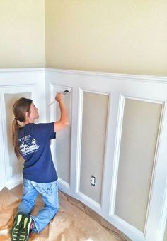 Painting and Handyman Company Located in Gulf Shores, Al. We service Fort Morgan. Painting and Han Installing Wainscoting, Wainscoting Styles, Faux Wainscoting, Home Improvement Projects, Home Projects, Dining Room Walls, Dining Room Wainscoting, Moldings And Trim, Moulding