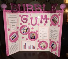 Science Fair Project with Bubble Gum. What bubble gum can make the biggest bubble? (Pictures on pink paper plates, pink letters in Walmart craft area)