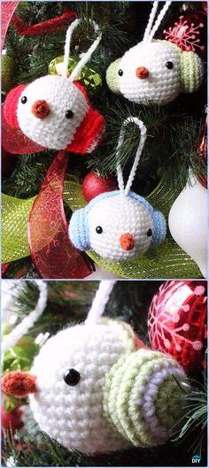 Crochet Snowman Ornament with Earmuff Free Pattern - Amigurumi Crochet Snowman Stuffies Toys Free Patterns