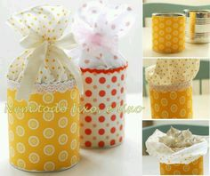 Gift Wrapping Inspiration : Cute small gift packaging- Tin can covered in fabric or paper, fabric glued to inside top of can and tied off with a bow! Tin Can Crafts, Diy And Crafts, Paper Crafts, Cookie Packaging, Gift Packaging, Packaging Ideas, Craft Gifts, Diy Gifts, Food Gifts