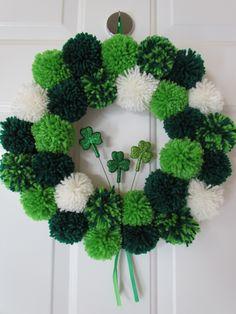 St. Patrick's Day Pom Pom Wreath - Crafty Designs by Beth