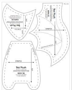 Plushie Patterns, Animal Sewing Patterns, Crochet Patterns, Softie Pattern, Sewing Toys, Sewing Crafts, Sewing Projects, Bat Pattern, Dragon Pattern