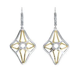 **CLEARANCE** Sterling Silver and 18k Yellow Gold Diamond Dangle Earrings. -