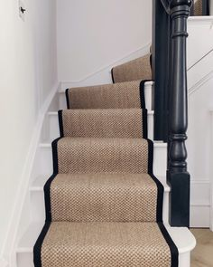 Hottest Images sisal Carpet Stairs Popular Among the fastest ways to revamp your. Hottest Images sisal Carpet Stairs Popular Among the fastest ways to revamp your tired old staircas Sisal Stair Runner, Stair Runners, Striped Carpet Stairs, Stairs With Carpet Runner, Staircase Runner, Black Staircase, Staircase Design, Hallway Inspiration, Hallway Ideas