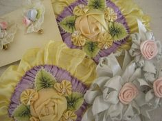 Antique Victorian Ribbon Ribbonwork Vanity Flowers Vintage 1920 Hand Made Silk