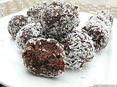 Vegan, gluten free, egg free, nut free chocolate coconut balls.