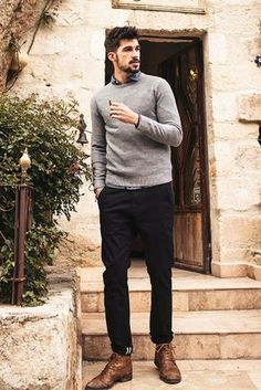 Details: Crew neck Ribbed cuffs and bottom Color: grey Fabric & Care: polyester acrylic wool nylon Machine wash Imported Mens Boots Fashion, Suit Fashion, 50 Fashion, Autumn Fashion, Fashion Outfits, Fashionable Outfits, Fashion Ideas, Preppy Mens Fashion, Fashion Hair