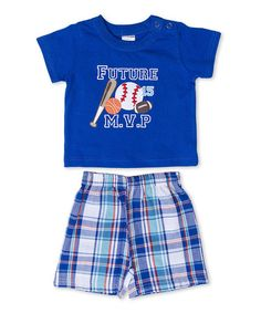 This Blue 'Future MVP' Tee & Plaid Shorts - Infant by Cutie Pie Baby is perfect! #zulilyfinds