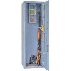 Односекционный оружейный сейф (шкаф) ОШ-6Э на 6 ружей высотой до 1380 мм.