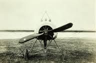 A front view of a Fokker E IV fitted with three machine guns
