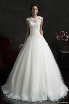 amelia sposa 2015 bridal lace cap sleeve bodice ball gown wedding dress