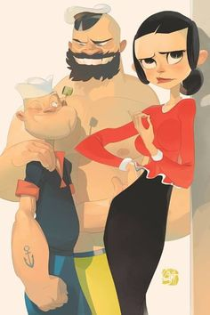 Popeye and pal Brutus.and Olive Oyl - art by Otto Schmidt Otto Schmidt, Comics Illustration, Character Illustration, Art Illustrations, Magazine Illustration, Graffiti, Popeye The Sailor Man, Timberwolf, Olive Oyl