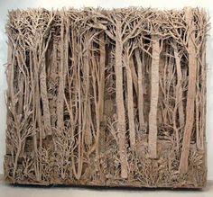 Cardboard forest sculpture