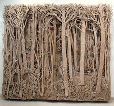 Cardboard forest sculpture