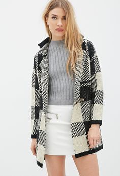 Collared Plaid-Patterned Cardigan | FOREVER21