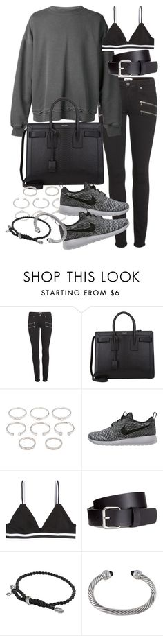 """""""Untitled #18684"""" by florencia95 ❤ liked on Polyvore featuring Paige Denim, Haider Ackermann, Yves Saint Laurent, Forever 21, NIKE, H&M and David Yurman"""