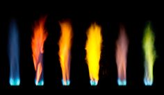 Flame test of different salts (left to right): Methane (control-no salts), calcium (sulfate), calcium (phosphate), sodium, potassium, copper.