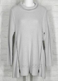 HABITAT Sweater Turtleneck A Line Zipper Tunic Cloud Light Grey NWT Large #Habitat #Tunic #Casual