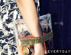 strapped clutch transparent clear perspex