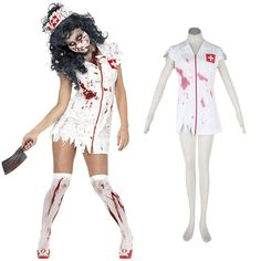 Halloween Culture Zombie Burst Blood Nurses 1ST Cosplay Costumes