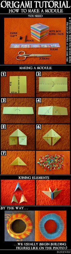 Origami Tutorial - Módulo por ~ blackwild on deviantART                                                                                                                                                      More