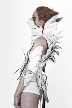 Design team: Kata Horvath, Piroska Gyetvai, Monika Metal, Ildiko Mikula and Edit Urban. Look Fashion, Fashion Art, Fashion Design, Fashion Fabric, High Fashion, Conceptual Fashion, Conceptual Art, Post Apocalyptic Fashion, Recycled Fashion