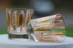 Vintage Pink and Gold Leaf MidCentury Bar Glasses/ by SecondBliss, $14.00