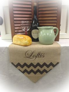 Burlap Table Runner 12 14 & 15 wide name by CreativePlaces on Etsy